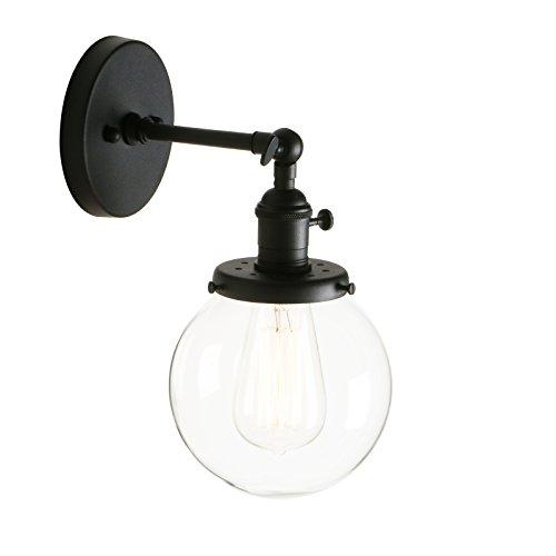 Pathson Antik Deko Design Kleine Kugel Klar Glas innen Wandbeleuchtung Wandleuchten Loft-Wandlampen Wandbeleuchtung (Schwarz Farbe) -