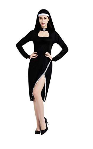 Lovelegis Taglia Unica - Costume da Suora Monaca Sexy - Travestimento Carnevale Halloween Cosplay Accessori - Donna Ragazza