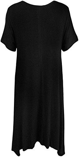 WearAll - Grande Taille Crâne Sequin Stud à manches courtes mouchoir Hem Haut - Hauts - Femmes - Grande Tailes - 42 a 56 Noir