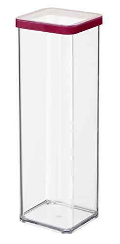 Rotho Premium-Dose Loft quadratisch 2l in transparent/rot, Kunststoff, Dichtung, 2 l