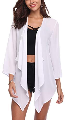 SIRUITON Chiffon Cardigan Damen Casual Blousen Elegant Festlich Shirt 3/4 Bell Sleeve Sheer Lightweight Open Front Top, Medium(DE38-40), Weiß