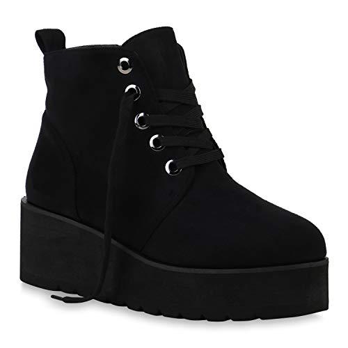 Damen Boots Plateau Stiefeletten Profilsohle Knöchelhohe Stiefel Veloursleder-Optik Plateau Schuhe 129429 Schwarz All 36 Flandell