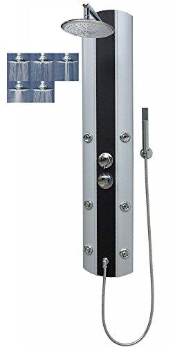 Duschpaneel mit Thermostat in Silber Duschsäule mit 6 Massagedüsen Regendusche Handbrause Eckmontage und Wandmontage