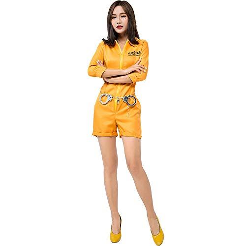 XINGMU Halloween Karneval Kostüm Kostüm Gelb Gefangener Kostüm Rolle Spielen Gelb ()