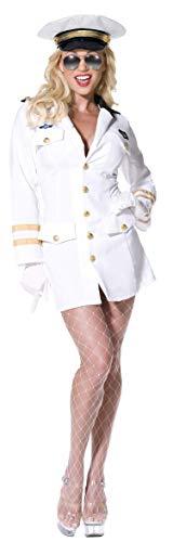 Sexy Kostüm Offizier - Smiffys, Damen Sexy Top Gun Offizier Kostüm, Kleid, Hut und Handschuhe, Top Gun, Größe: S, 32746