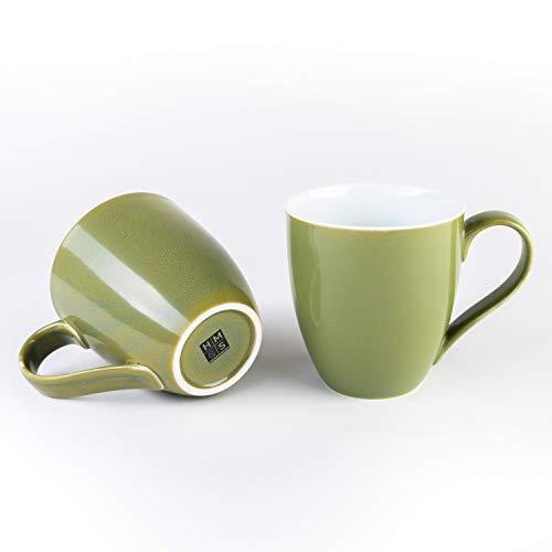 Hausmann & Söhne XXL Tasse grün groß aus Porzellan | Jumbotasse 500 ml (550 ml randvoll) im 2er Set | Kaffeetasse/Teetasse groß | Kaffeebecher | grüne Tasse 500 ml | Geschenkidee Jumbo-tasse