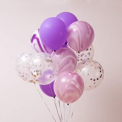 (40 Stück Silber Konfetti und Light Purple Achat Marmor Ballons, Light Purple und Silber Konfetti Latex Ballons Set für Geburtstag Partydekorationen Hochzeit Baby Duschen Christmas Festival Zeremonie)