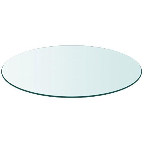 Tischplatte Aus Glas (Festnight Ersatzteil Rund Tischplatte Glasplatte aus Gehärtetem Glas Durchmesser 800 mm Transparent)