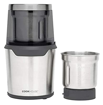 Cookhouse 300 Watt Electric Coffee & Spice Grinder: Professional Precision Blender for Grinding/Chopping with 2 Removable 80g Stainless Steel Bowls & Wet/Dry Function-Easy Push-Down Operation