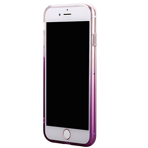 IPhone 7 Case, KoalaGroup® Gradient thin TPU soft protective pouch Slim was simple case cover & thin translucent box - Comes with dust cap (Pink) Purple