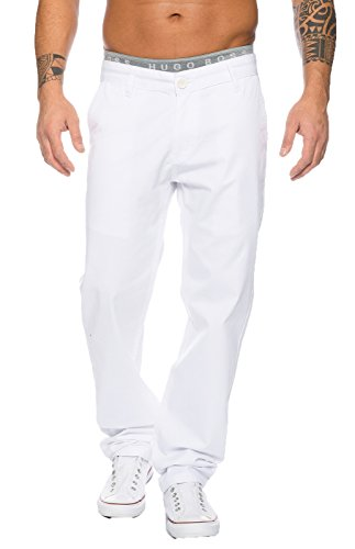 Rock Creek Herren Designer Chino Stoff Hose Chinohose Regular Fit Herrenhose W29-W40 RC-2083 [RC-2083 - Weiß - W38 L30]