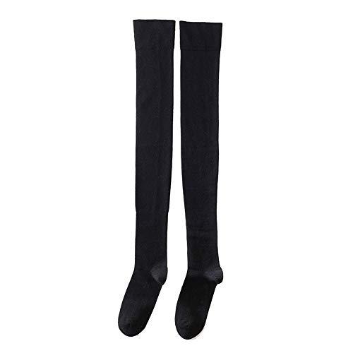 zhaoaiqin 2 Paar Kniesocken, Kälber, Kniestrümpfe, lange Tube dicke Socken, weibliche Herbst und Winter Stovepipe hohe Socken, über das Knie schwarz -