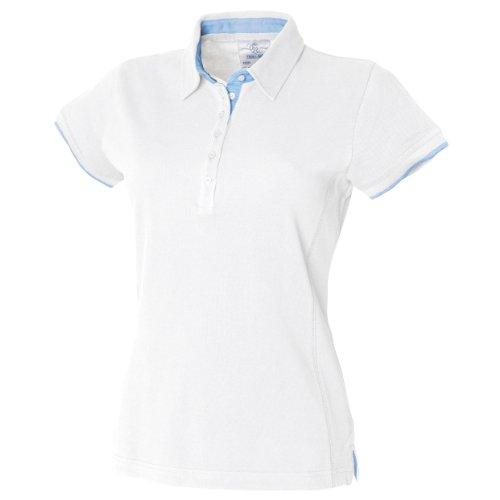 Front Row - Polo 100% coton - Femme Blanc/Bleu ciel