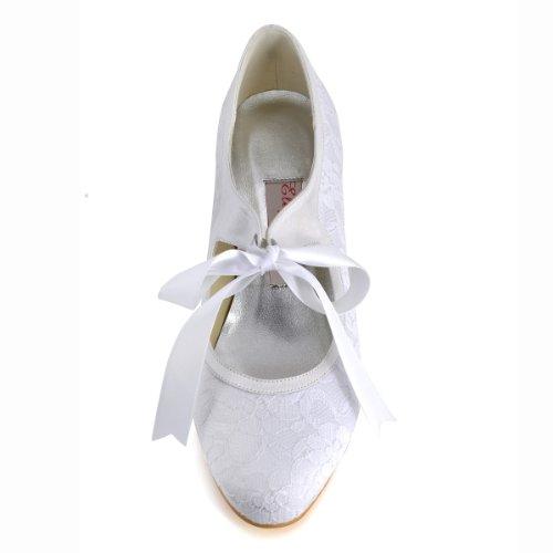 ElegantPark A3039 Escarpins Femme Ruban Talon Haut Bout Rond Dentelle Satin Stiletto Mary Janes Chaussures de Mariage Mariee Blanc