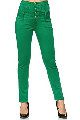 Elara Damen Stretch Hose | High Waist Jeans| Skinny Jegging | hoher Bund | Slim Fit | Chunkyrayan Y1808 NewGreen 42