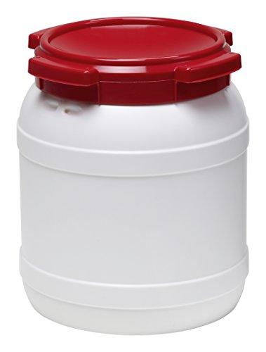 Curtec HDPE Weithalsfass, stapelbar, wasserdicht, temperaturformbeständig bis 80°C, mit rotem Schraubdeckel, Gummidichtung, naturweiß, 15 Liter