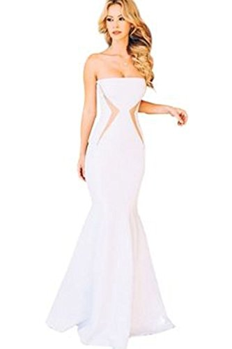 New Ladies blanco sin tirantes vestido de cóctel Velada Fiesta Boda Prom Vestido de Wear TAMAÑO UK 10-12EU 38-40