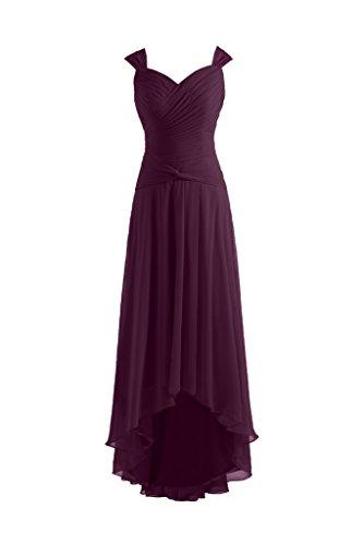 Sunvary Robe de Soiree Robe de Cocktail Bretelle Couvrante Encolure en Coeur Robe Longue Asymetrique en Chiffon Prune