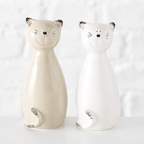 Home Collection Porzellan Figur Katze 2er Set farblich Sortiert H25cm -