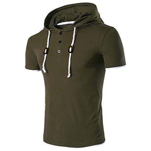 Kanpola Oversize Herren Shirt Slim Fit Sweatshirt Kapuzenpullover Hoodie Kapuze T-Shirt Tee Top (A-Armeegrün, L/50)