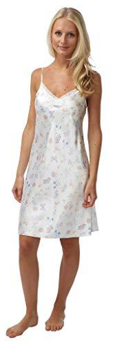 Satin Chemise/Nachthemd, lila, pink, blau, grün, rot, Größe 810121416182022 Gr. 36, White Butterfly Print -