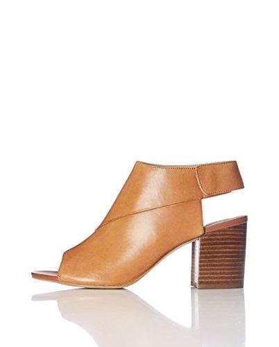 FIND Peeptoe Sandalen Damen aus Leder mit Druckknöpfeverschluss und Blockabsatz, Braun (Tan), 38 EU