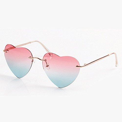 Randlose Sonnenbrille mit herzförmigen Brillengläsern von Waygo, modische Sonnenbrille für Damen, inkl. Brillenetui