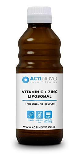 ActiNovo Liposomales Zink + Vitamin C - flüssige Nahrungsergänzung (250 ml), vegan, made in Germany