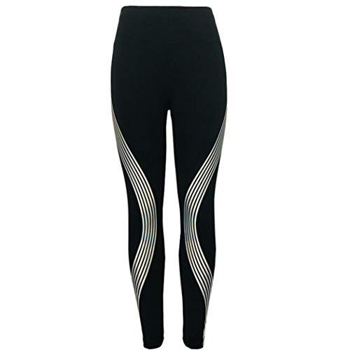 Pantaloni da Yoga per fitness donna sportivi di yoga delle palestra sport forma fisica ghette dell'arcobaleno-Sport fitness a vita alta a coste Leggings -athletic Pantalone (nero,S)