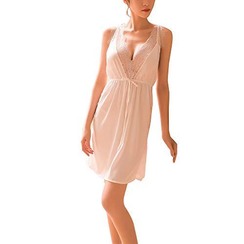 OSYARD Damen Babydoll Sets Erotik Nachthemd Reizwäsche Chemise Schlafanzüge, Frauen Sexy Dessous Unterwäsche Nachtwäsche Kleid Temptation Rückenfrei Camisole Spitze Negligees mit G-String -