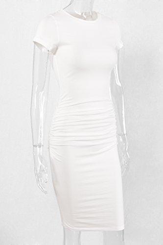 Missufe Frauen Ruched Casual Sundress Midi Bodycon Mantel Kleid Weiß