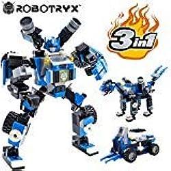 JitteryGit Robot Jouet   3 en 1 Set créatif divertissant   Jeux de Construction garçons de 6 à 12 Ans Cadeau Jouet Enfants   Kit d'affiches Gratuit Inclus