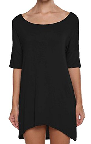 URqueen Women's Fashion Round Collar Solid Casual Comfy T-Shirt Dress Black