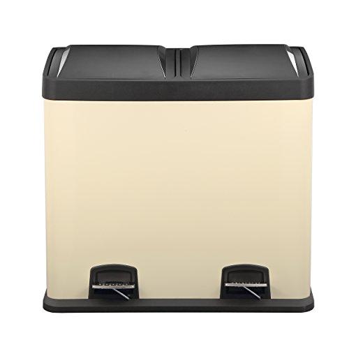 Mari Home - Treteimer, Creme, 48 Liter, Abfall- und Recycling-Behälter, 2-in-1-Eimer, 2 Behälter mit je 24l Fassungsvermögen, Abfalleimer, silberfarben