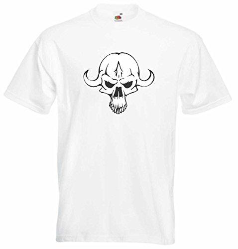 T-Shirt D546 T-Shirt Herren schwarz mit farbigem Brustaufdruck - Design Tribal Comic / abstrakte Retro Grafik / Totenkopf mit Hörnern Mehrfarbig