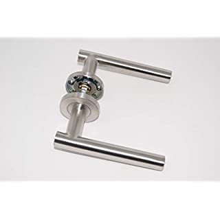 Straight T Bar Lever Door Handle, Satin Stainless Steel