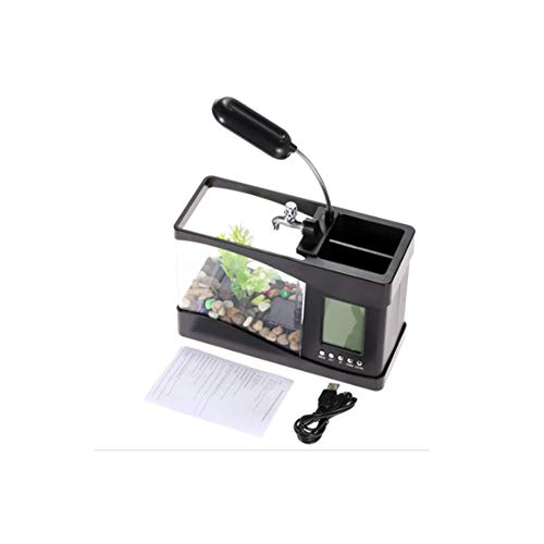 Klein Einstiegsniveau Aquarium, kommt mit Mini-USB-LCD-Tischleuchte Aquarium Aquarium LED-Uhr mit 6 Modi stummem natürlichen Klang, Aquarienschmuck, schwarz (Pen-light-filter)