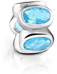 Everbling turquesa ovalada luces de diciembre Birthstone espaciador 925plata de ley CZ cuenta para pulsera compatible con Pandora Pulsera