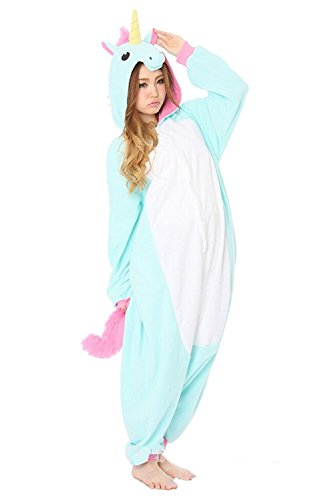 (Blue Unicorn, S (155-160cm)) - Winter Warm Flannel Onesie Pyjamas Adu
