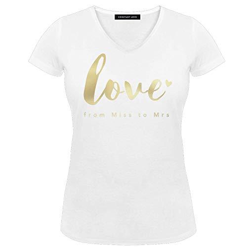Constant Love® Damen T-Shirt Braut Love from Miss to Mrs Offwhite Warm Weiß Junggesellen Abschied Flitterwochen Hochzeit Standesamt Outfit (Weiß + Goldener Druck, M)