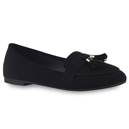 Damen Lack Slipper Quasten Tassel Loafers Business Schuhe Schwarz Quasten
