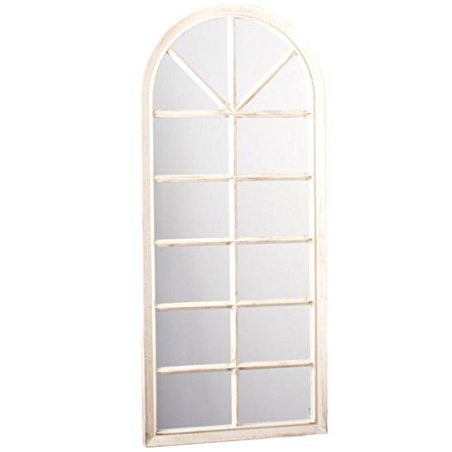 Dcasa - Espejo pared forma ventana crema decorado