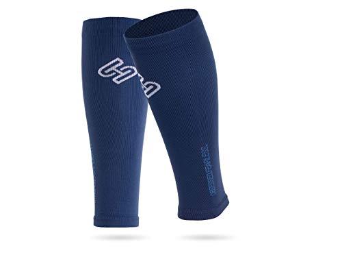 SPORTHACKS Sleeves - Schienbeinschonerhalter & Stutzenhalter mit Kompressionseffekt (blau, III | Wadenumfang 32-38cm)