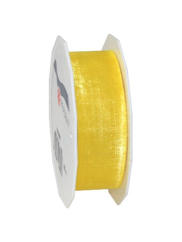 C.E. Pattberg PrÀsent 25 mm Organza Ribbon Sheer, Yellow