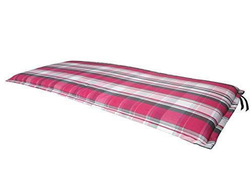 Doppler Luxus 3-Sitzer Wende Bankauflage Sommerville 5317K, ca. 155 x 54 x 6 cm, rot anthrazit gestreift und Uni anthrazit, 5042305317K