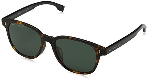 Hugo boss boss 0953/f/s qt n9p 55 occhiali da sole, marrone (matt havana/gn green), uomo