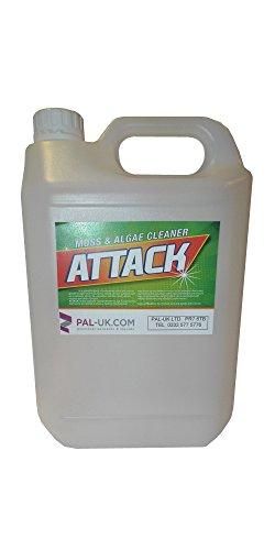Attack Muschio, Patio, terrazze di muffa, alghe e batteri Attack Remover percorsi passi Walkways 5L Forza Industriale prodotto nel Regno Unito.