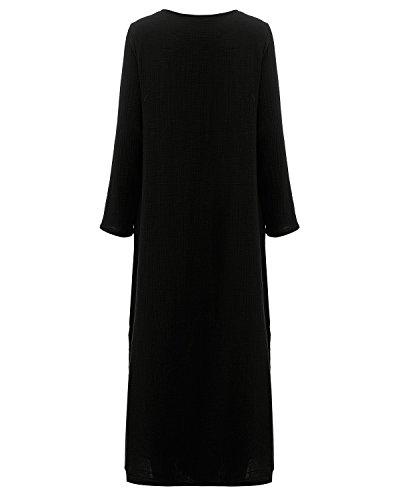 StyleDome Femme Robe Coton Longue Col Rond Manches Longues Casual Lâce Large Tunique Robe Maxi Noir