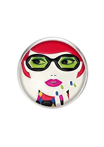 Edelstahlring, verstellbar, 20 mm Tablett, handgemachte Illustration Frau Pop Art -
