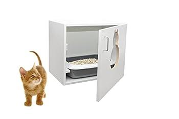 Maunz Placard maison de toilette pour chat avec bac et pelle à litière en plastique 63 x 53,5 x 41 cm